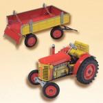 plechové modely - Traktor-ZETOR s valníkem červený